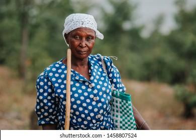 KENYA, RUSINGA island, UTAJO village - FEBRUARY 18, 2015: portraits from Africa, Kenya, old woman
