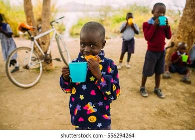 KENYA, RUSINGA, UTAJO - OCTOBER 23, 2016: hungry children, school, editorial
