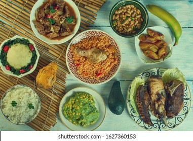 Kenyan cuisine, Traditional assorted African dishes, Top view.