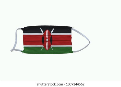 Kenyan flag design Covid-19 pandemic  virus face mask  on a white background with copy space