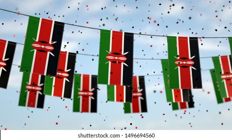 Kenyan flags in the sky with confetti.