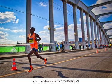 Kenyan runner Albert Kangogo during the halfmarathon in Usti nad Labem - Czech republic - 15.9.2018
