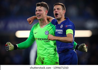 Kepa Arrizabalaga (left) and Cesar Azpilicueta (right) of Chelsea celebrate  - Chelsea v Eintracht Frankfurt, UEFA Europa League Semi Final - 2nd Leg, Stamford Bridge, London (Fulham) - 9th May 2019
