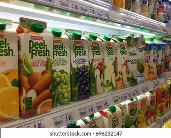 KEPONG, MALAYSIA - AUGUST 6, 2027: Peel Fresh is a brand name of Marigold juice on the shelf in supermarket.
