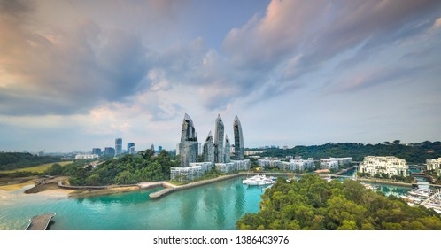 KEPPEL BAY, SINGAPORE - CIRCA MARCH 2019: Panoramic aerial view of the luxury waterfront residential complex Reflections at Keppel Bay and the marina.
