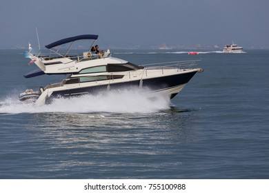 KEPPEL BAY, SINGAPORE-CIRCA JULY, 2017 : A luxury Private yacht sailing in open water full ahead