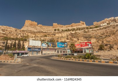 KERAK, JORDAN - AUGUST 23, 2018: Town Kerak with crusader castle Kerak  (Al Karak), Jordan