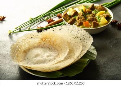 Kerala breakfast - homemade soft appam with mutton stew
