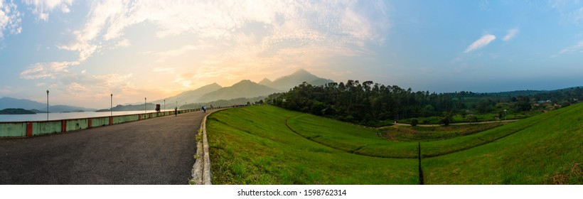Kerala God's own Country Nature Scenery amazing nature panoramic view of Banasura Sagar Dam in Wayanad Largest earth dam in India best place to visit in kerala beautiful mountain sunset view