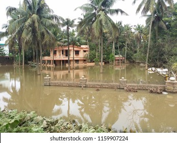 KERALA, INDIA - AUGUST 19, 2018: Flood disaster house submerged in water in Kochi.