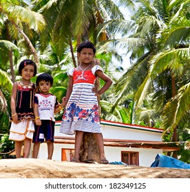 KERALA, INDIA - AUGUST 5: Indian children in the village in Kerala, India on August 5, 2013