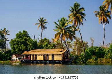 Kerala, India - December 15 : Traditional Indian houseboat near Alleppey on Kerala backwaters on December 15, 2013.r, summit, sun, sunshine, travel, trek, two, ukraine, wallpaper, woman, wooden