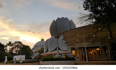 Kerala, India - January 2017: People walking in the Santhigiri Ashram is located in Thiruvananthapuram District. The ashram is recognized as a Social and Scientific Research Organization