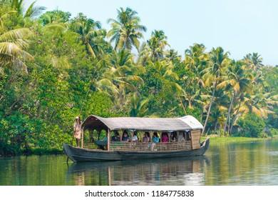 Kerala, India - September 16 2017: The backwaters of Kerala.