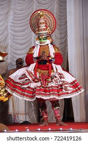 KERALA, INDIA - SEPTEMBER 25, 2017:Unidentified kathakali performers during the traditional kathakali dance of Kerala's state in India.