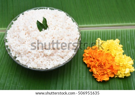 Kerala Matta rice also Rosematta rice, Palakkadan Matta rice, Kerala Red rice, parboiled rice. cooked and served in banana green leaf for Onam.brown fiber rich Indian/India rice, also Sri Lanka Asia