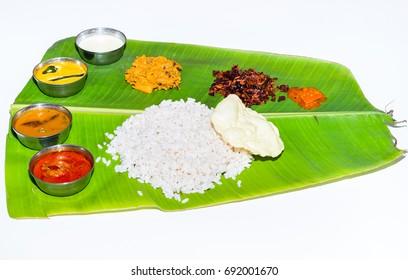 Kerala meals in banana leaves