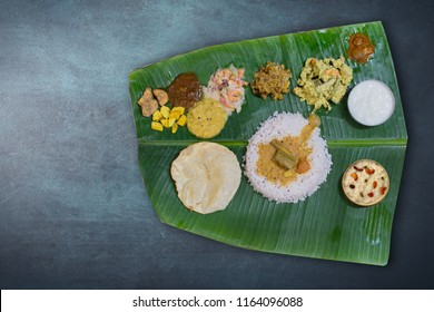 KERALA ONAM SADYA ON A DARK BACKGROUND