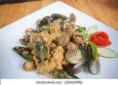 kerang bumbu rujak, is traditional food from indonesia