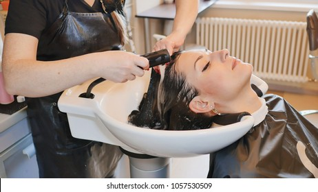 Keratin straightening and hair restoration. Strengthening and treatment with botox.