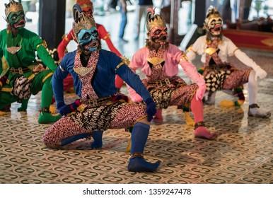 Keraton, Yogyakarta-2019: traditional dance with ramayana theme held in keraton yogyakarta