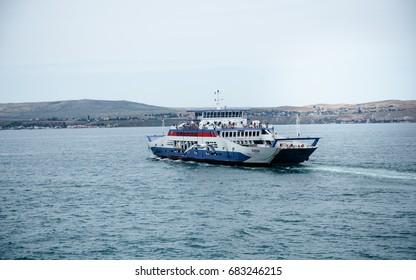 KERCH, CRIMEA - 22 June, 2017 :  Ferry between Crimea and mainland Russia, Port Crimea - Port Caucasus