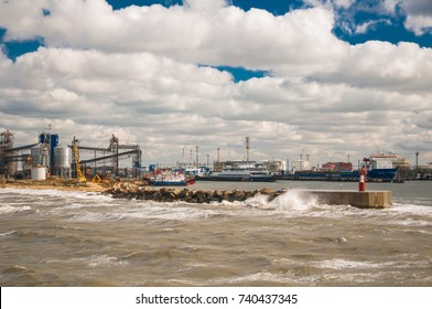 Kerch ferry crossing. Port of Kerch (Crimea) - Port of Caucasus. View from the ferry to the pier of the port of Kavkaz. Storm on the ferry