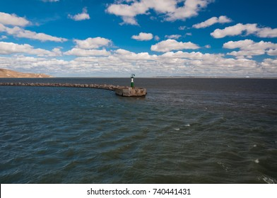Kerch ferry crossing. Port of Kerch (Crimea) - Port of Caucasus. The ferry departs from the quay of Kerch. View from the deck