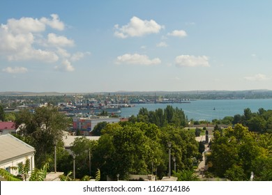 KERCH, RUSSIA - JULY 24: View of Kerch and the Kerch Strait from the summit of Mithridates on July 24, 2018 in Kerch.
