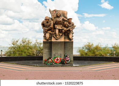 KERCH, RUSSIA - June 29, 2019: Monument to sea paratroopers killed in battles in the Great Paternity War in the city of Kerch, on the embankment, view in anfas