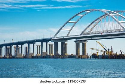 Kerch,Crimea - 07/08/2018: Photos of Crimean bridge  -   construction of  bridge,  view from sea.  Crimean bridge from Taman Peninsula to Kerch Peninsula.