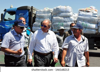 KEREM SHALOM, ISR - JUNE 30:George J. Mitchell on June 30 2010.He was the US Special Envoy for Middle East Peace (2009-2011) by President Obama.Currently serves as co-chair of the Housing Commission.