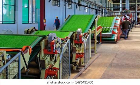 Kericho, Kericho / Kenya - May 13, 2016: CTC (crush, tear & curl)  Plant in a black tea manufacturing factory