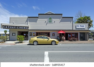 KERIKERI, NZ - DEC 22:Cathay Cinemas and cafe  on Dec 22 2013. It's the largest town in Northland NZ and it has some of the most historic buildings in the country.