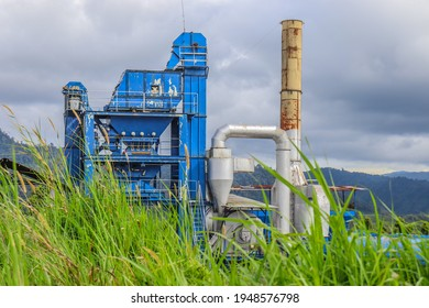 Kerinci, Jambi, Indonesia - October 22, 2020: the factory that is no longer in operation has been overgrown with grass.