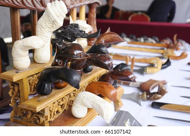 Keris is a traditional weapon of the Malay community in Malaysia. Made manually by using the selected iron. The handle is made of wood or ivory.