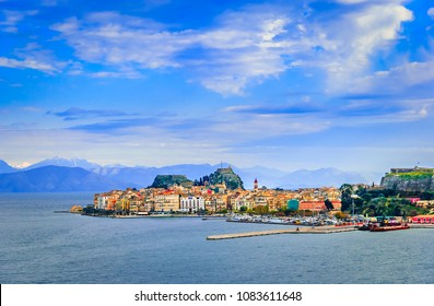 Kerkyra, Corfu, Greece: Panoramic view of the classical greek houses on Corfu island, capital Kerkyra