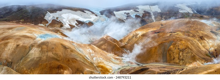 Kerlingarfjoll (The Ogress' Mountains), a volcanic mountain range situated in the highlands of Iceland. The red color of the earth is due to the volcanic rhyolite stone the mountains are composed of.