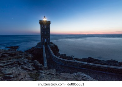 Kermorvan lighthouse, Finistere. Beautiful view of the phare at sunset in summer in Brittany coast, northern France.