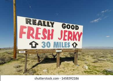 KERN COUNTY, CA/USA - FEBRUARY 26, 2017: image of a Really Good Fresh Jerky billboard in the Mojave Desert.