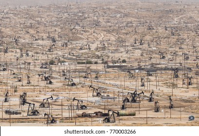 Kern River Oil Field, the most dense oilfield in the United States. Thousands of pumpjacks in the town of Bakersfield, California.