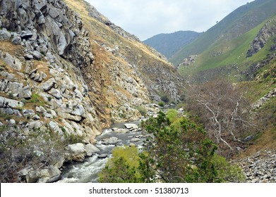 The Kern River rushes down from the Sierra Nevada Mountains to California's San Joaquin Valley