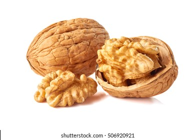 Kernel and whole walnut on white