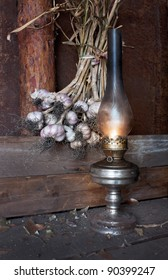 kerosene lamp in the interior of the barn
