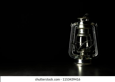 kerosene lamp on darck background