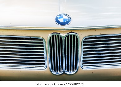 Kerpen, Germany - August 19, 2018: detail of a classical BMW car. BMW is a German multinational company which currently produces luxury automobiles and motorcycles, also aircraft engines until 1945