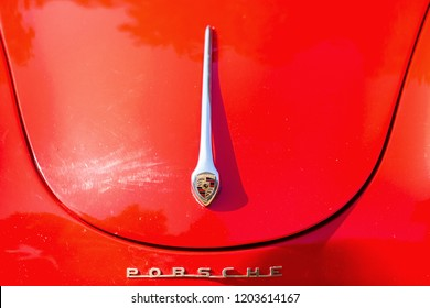 Kerpen, Germany - August 19, 2018: hood detail of a classical Porsche car. Porsche is a German automobile manufacturer specialized in high-performance sports cars