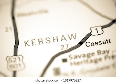 Kershaw. Augusta. USA on a map