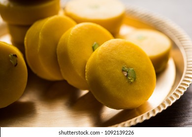 Kesar Pedha or Peda is an Indian traditional sweet dish made from milk/khoya and saffron