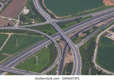 Kesem Interchange - Israel - Aerial View. The interchange is the intersection of Highway 6, Highway 5, and Route 444. The interchange is named after the nearby village of Kassem